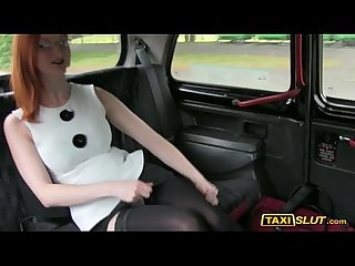 Redhead chick zara nailed in the backseat of a taxi