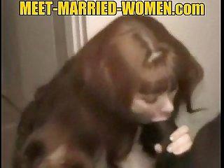 Redhead amateur milf gets interracial creampie