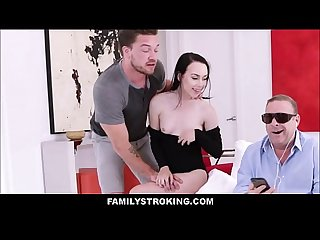 Cute Teen Step Sister Bambi Black Fucked By Step Brother In Front Of Blind Step Dad