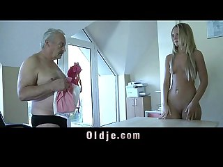 Young maid mouth full of cumshot after fucking boss old cock on the office