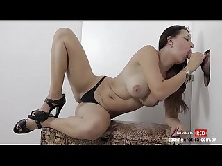 Slut girl sucks and fucks at gloryhole until she takes cumshot in mouth