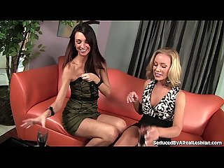 Sexy brunette seduces hot blonde