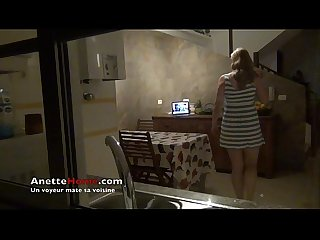 Voyeur spying on neighborgirl with hidden cam