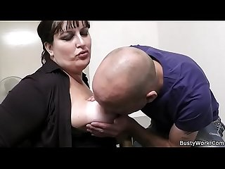 Office sex with busty secretary in stocking
