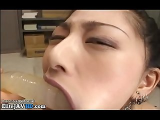 Japanese secretary receives blowjob training