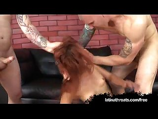 Two hung gringos face fucking a latina