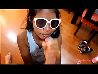 Hd tiny thai teen oriental teen heather deep give deep throat and get huge Facial on glasses 2