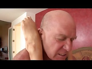 Kaylee gives her father a blowjob with the device and pricks up his cock