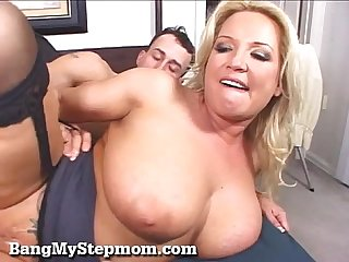 Busty blonde wife cheats with her stepson