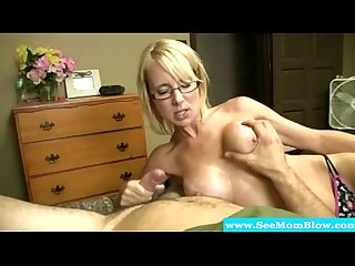 Spex blonde mature tugs and sucks cock