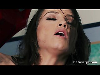 Celeste Star hot pussy licked in a garage