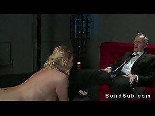 Big boobs blonde sub fucking her master