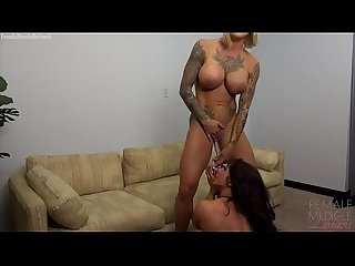 Naked Female Bodybuilder Lesbians Play With A Glass Dildo