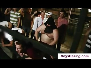 Straight frat pledges assfucked by hairy fat guy