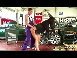 Two young seduce big tit german milf to fuck in workshop