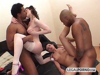 Two horny brunettes fucked in an interracial foursome hc 4 01