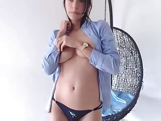 sexy Colombian brunette stripping on cam - watch more on 34cams.com