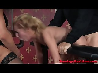 Strapon fucked sexslave throats cock in trio