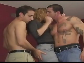 Horny and hot hooker can be fucked by three men in all holes.