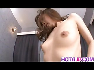 Aiko hirose gives handjob before sticking shlong in her cooter