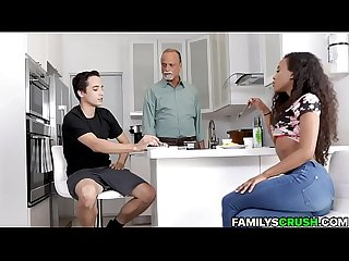 Dude fucks his black stepsis while dad sleeps