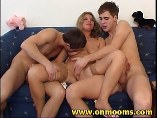 Milf is cheating on her husband with two guys