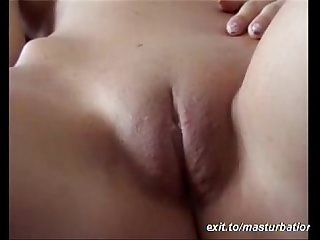Fingering fresh shaved pussy with long nails