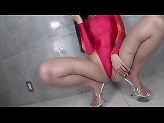 Ui Mita High-leg leotard red (part1) legs-fetish image video no sound solo