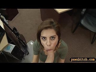 Amateur brunette babe gets screwed by nasty pawn guy