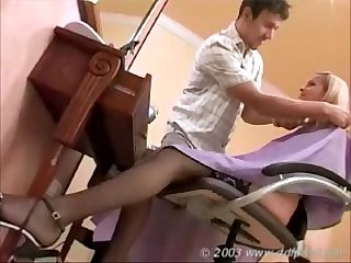 Blonde with big tits fucked hard at the barber shop