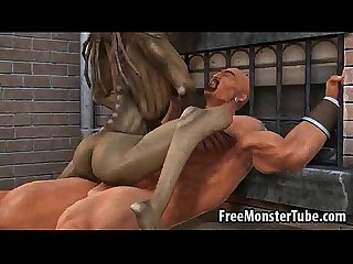 3D cartoon alien babe riding a stud's cock outdoors
