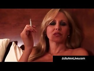 Busty blonde milf julia ann smokes a cig plays with pussy