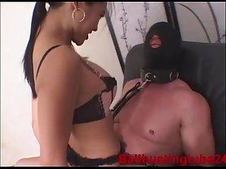 Xtremecbt ballbusting chastity slave foot worship