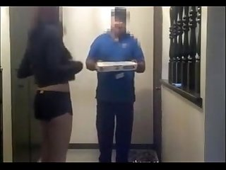 Asian girl gives pizza guy blowjob