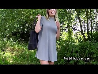 Busty blonde earning cash fuck in public