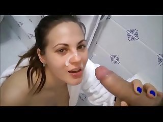 Brazilian Cute Amateur Blowjob Facial