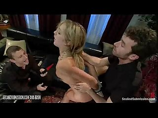 Bondage blonde babe gives double blowjob