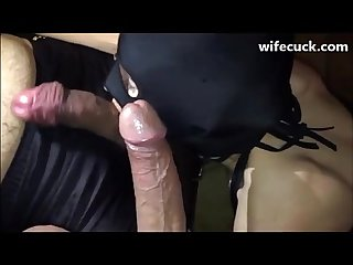 Masked french wife sucks off hubby and a friend wifecuck com