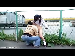 School girl exposed and fucked outdoors surprise Creampie