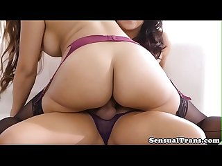 Shemale babe pussyfucking female in cowgirl