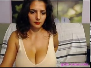Huge titted brunette masturbating on webcam
