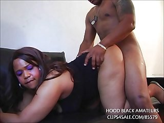 Ebony gives great blowjob and gets fucked in first time video