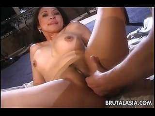 One busty brunette asian slut sucking and fucking
