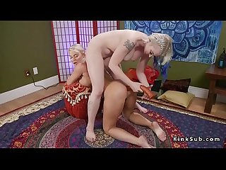 Anal foot fucking for busty lesbian