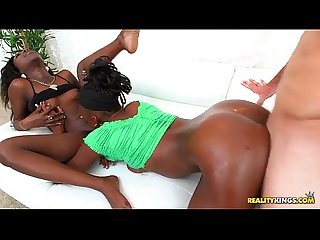 Two petite ebony lesbians get fucked and covered in cum - RealityKings.com