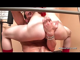 Gorgeous french redhead deep anal fucked at gym