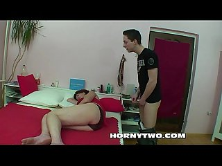 Chubby shaved stepmom cannot resist her stepson to give his cock in pussy