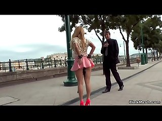 Blonde in pink skirt anal fisted in public bar