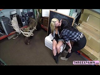 Sweet and sexy lesbian couple is enjoying huge cock in the shop