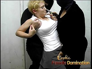 Three delicious babes have some kinky fun with a blonde bitch
